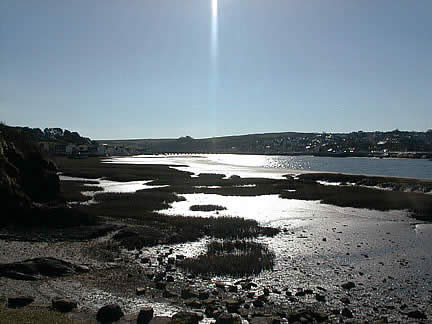 Into the Sun - The ancient Bideford Long Bridge on the Horizon - Photo by B.D. Adams