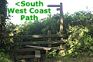 Footpath down to the South West Coast Path