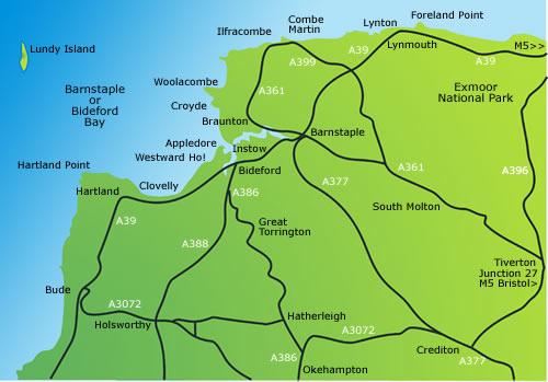 NORTH DEVON Ilfracombe Barnstaple Bideford Exmoor Clovelly Lundy LARGE 1903 map