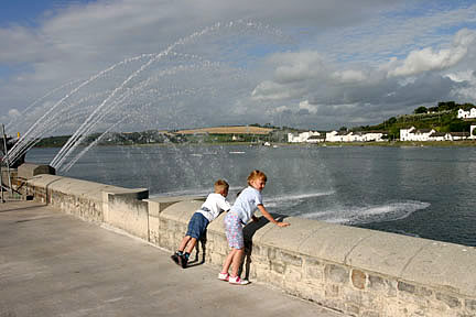 Enjoying the Water Fountain on Bideford Quay