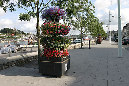 Colourful promenade, new avenue of trees along the quayside Bideford